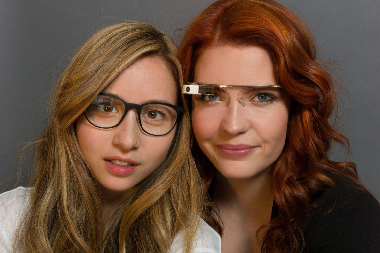 Google Industrial Designer Isabelle Olsson and fellow Googler Amanda Rosenberg wearing Google Glass