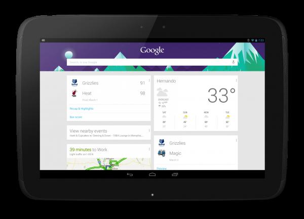 Nexus 10 Google Now