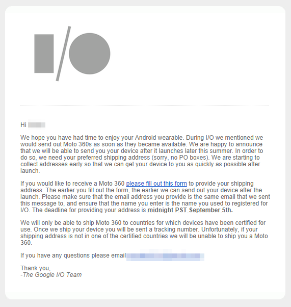 Moto 360 email for I/O attendees