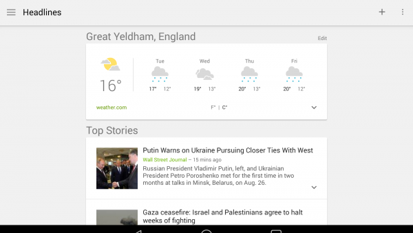 Google News & Weather Screenshot