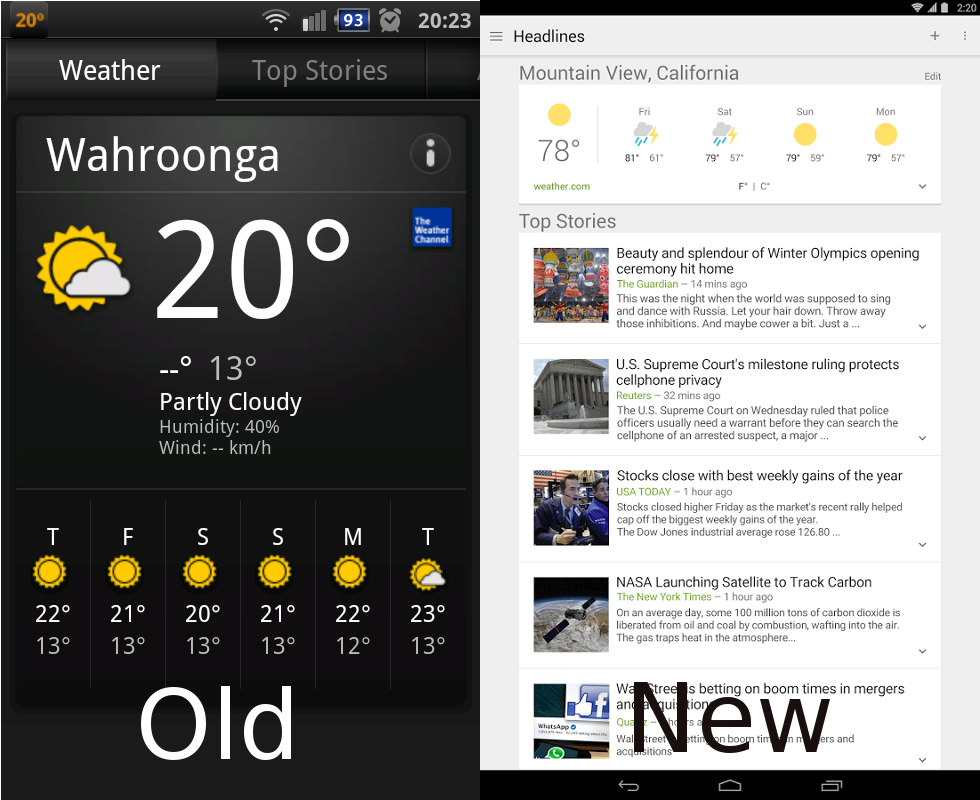 Google News & Weather - Old vs New