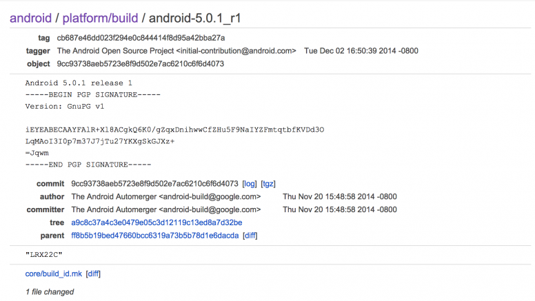 Android 5.0.1 Pushed TO AOSP, Factory Images Already Available