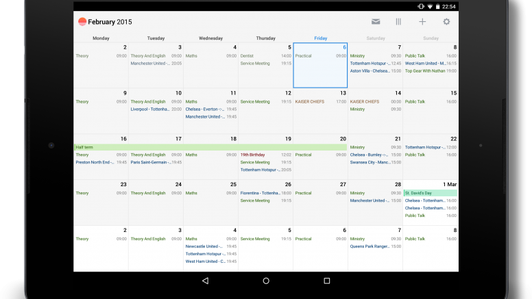 Sunrise Calendar Gets Tablet Optimised UI
