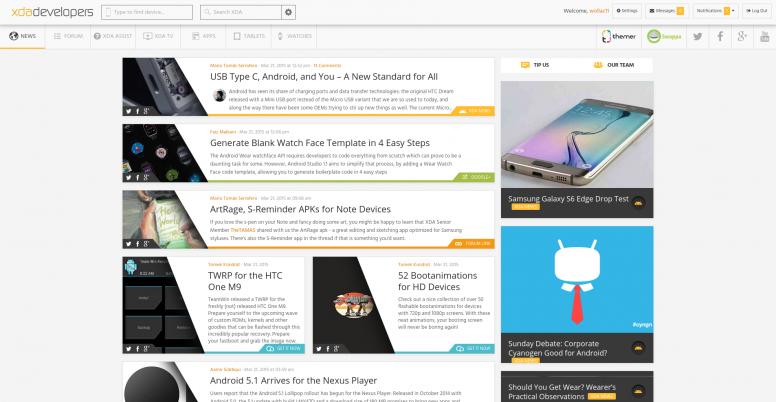 XDA Site Screenshot