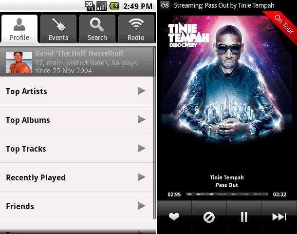 Last.FM old app design