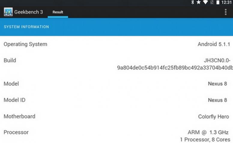 Nexus 8 Geekbench Screenshot